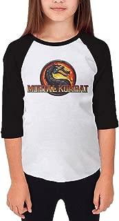 MJJY Youth Girls Mortal Kombat Jurassic Style Raglan Baseball T Shirt Black