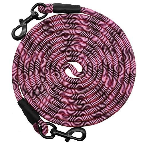 BTINESFUL Hundeleine mit Karomuster, 3,65 m, 6,1 m, 9 m, 15,2 m, ideal für große, mittelgroße und kleine Hunde, zum Spielen, Camping oder für den Hinterhof (6 m), Pink / Schwarz