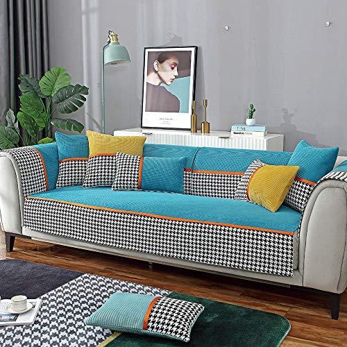 Suuki Fundas Sofá Chaise Longue,Protector de sofá de Sala de Estar de Moda,Fundas de decoración de sofá de Estudio,Protector de sofá de Esquina,sofá de Tienda de 1/2/3/4 plazas-Azul_Los 90 * 240cm