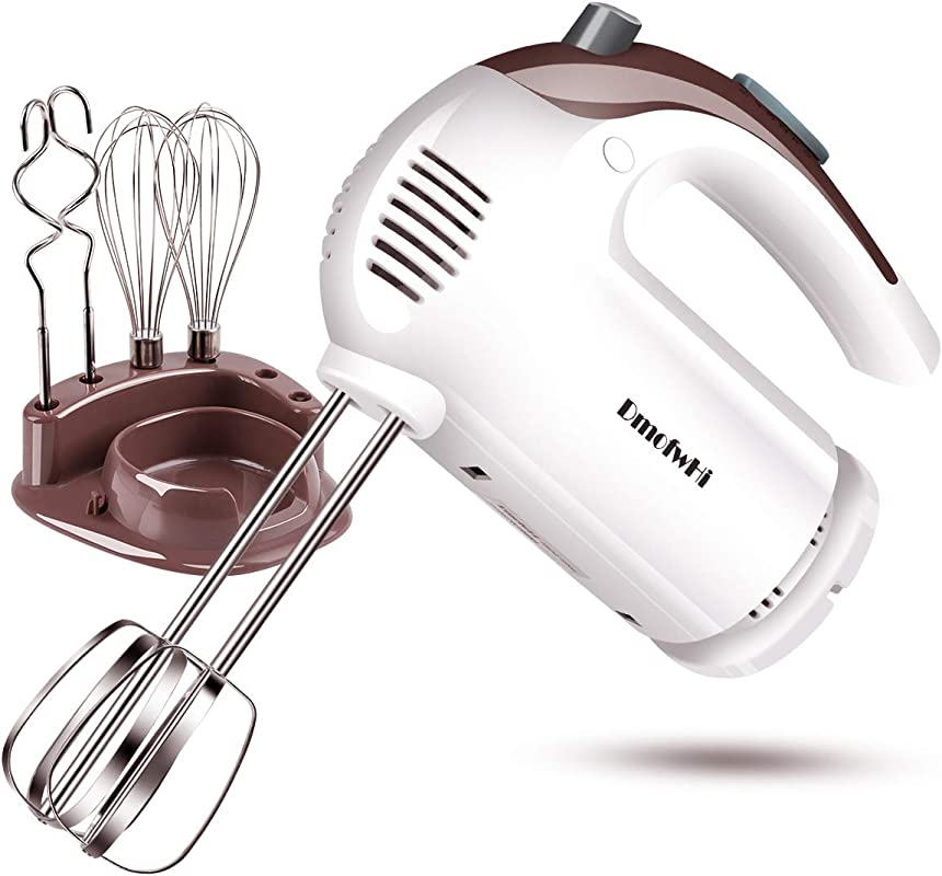 DmofwHi 5 Speed Hand Mixer Electric 300W Ultra Power Kitchen Hand Mixers With 6 Stainless Steel Attachments 2 Wired Beaters 2 Whisks And 2 Dough Hooks And Storage Case