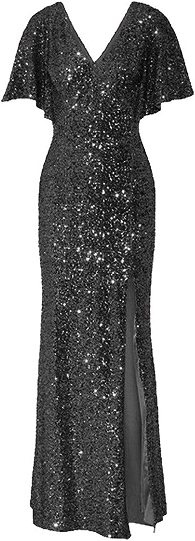 JudyBridal Women's Sequins VNeck Loose Sleeves SPlit Prom Evening Dress