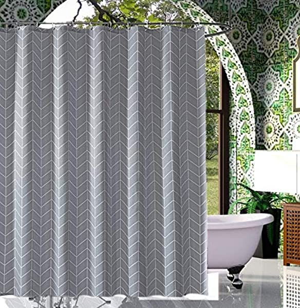 RARLON Spa Gray Shower Curtain Fabric Shower Curtain For Bathroom Showers And Bathtubs Geometric Pattern Water Repellent Striped Bath Curtain 72 X 72 Inch Grey