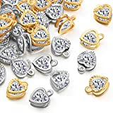 100 Pieces Cubic Zirconia Alloy Heart Shaped Charms Crystal Pendants Charms for Jewelry Making Choker Tiny Dangle DIY Necklace Jewelry Making, KC Gold and White K