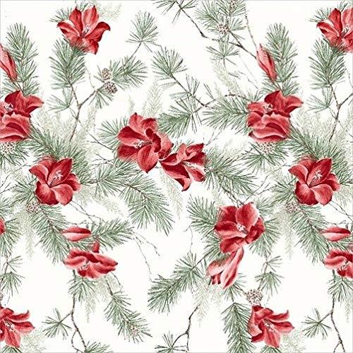 Proflax Tischdecke Amara 1 l 85x85cm l Weihnachten l Amaryllis