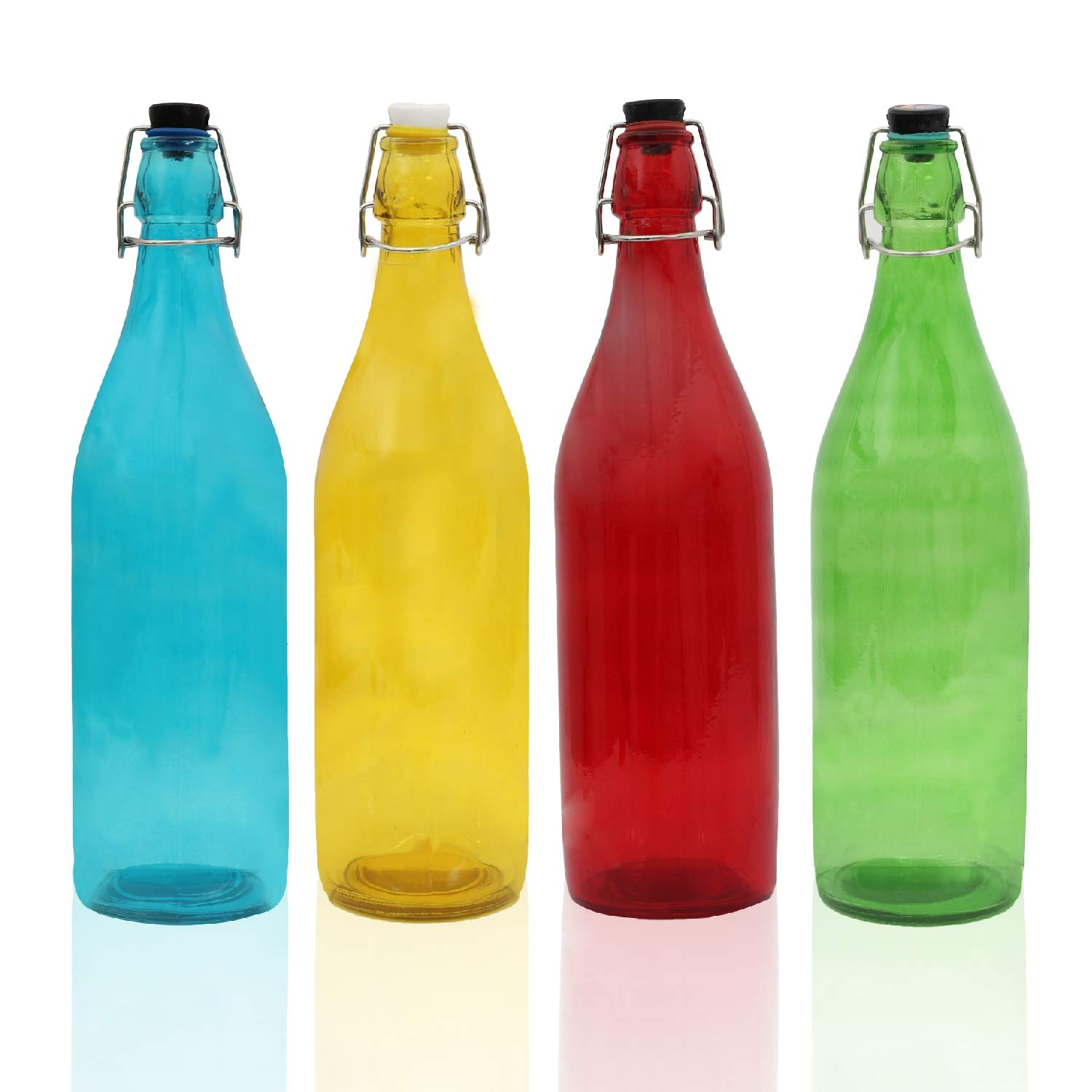 Pb PapyrusBolsys Glass Water Bottles, 1ltr, Set of 4, Multicolor (Round) : Amazon.in: Home & Kitchen