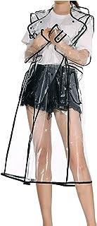 Merkisa Women Transparent Raincoat with Hood, Reusable Recyclable Waterproof Slightly Breathable Rain Jacket for Women, Si...