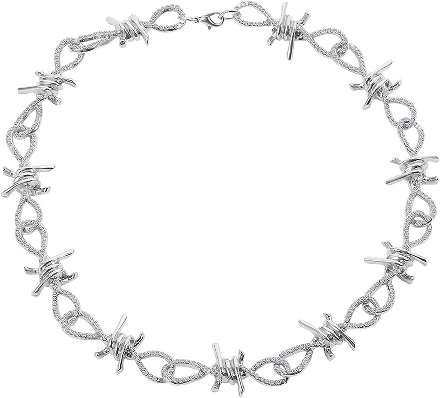 COLORFUL BLING Gothic Barbed Wire Necklace Crystal Metal Thorns Choker Necklace Metal Chain Safety Rock Hip Hop Rock Spur Link Necklace Punk Hiphop Rock Jewelry