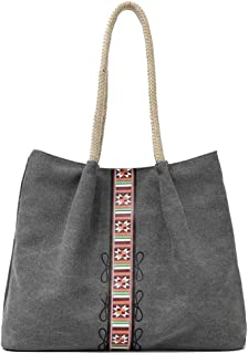 Trendy Lady Printed Canvas Bag Large Capacity Messenger Bag Casual Large Capacity Handbag Zgywmz (Color : Gray, Size : 40 * 12 * 31cm)