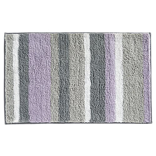 iDesign Stripz Bath, Machine Washable Microfiber Accent Rug for Bathroom, Kitchen, Bedroom, Office, Kid's Room, 21' x 34', Lavender and Gray