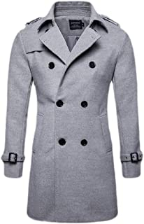 Mens Premium Trench Coat Wool Content French Long Jacket Winter Business Top Coat