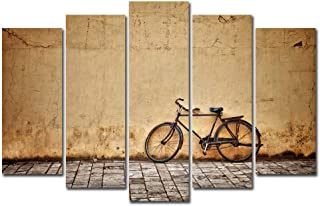 Horgan Art 5 Pieces Canvas Print Rusty Bicycle Wall Art, Retro Style Bikes Line Against Wall Painting Modern Artwork, for Living Room Bedroom Home Decor(No Frame)