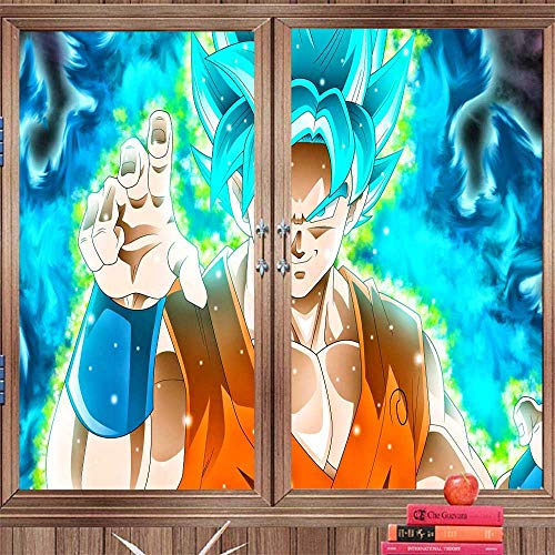 Benmo House Window Door Stickers qlz Goku Dragon Ball Super 87 Window Clings Removable Non-Adhesive UV Blocking 35.4 x 78.7 inch