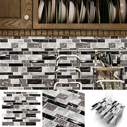 HomeyMosaic Fliesendekor Aufkleber, 3D Fliesenaufkleber Wandaufkleber Fliesensticker Fliesen Selbstklebend für Küche, Bad 30 x 30cm(5er-Set,Granite)