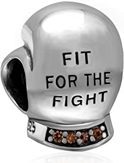 Fighting Boxing Glove Charm 925 Sterling Silver Sports Charm with Champagne Stone for Charms Bracelets