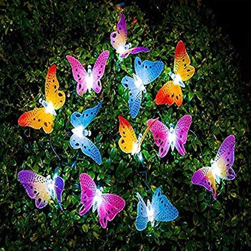 ZXYSHOP Cadena de Luces Solares de Mariposa al Aire Libre, Luces de Mariposa Solares LED a Prueba de Agua Decoración Interior al Aire Libre para Dormitorio, Balcón, Patio, Trasero