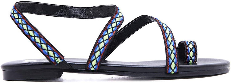 Women Flat Sandals Gladiator Embroider Ethnic Summer Slip-On Plus Size PU PU Leather Handmade shoes