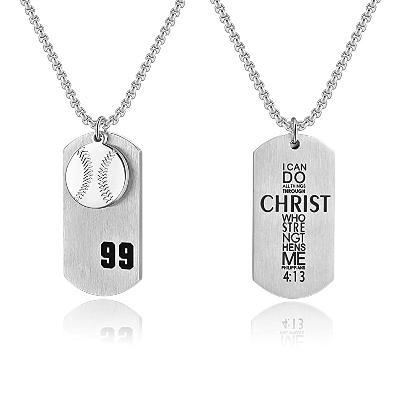 Godcow Men's Baseball Player No.99 Cross Necklace I Can Do All Things Bible Verse Stainless Steel Pendant