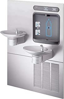 Halsey Taylor HTHBWF-OVLSER-I OVL-II Wall Mounted 8 (GPH) ADA Indoor Rated Bi-Level Bottle Filler Fountain Combo with Recessed Chiller