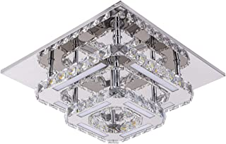 Modern Crystal Ceiling Light Not Dimmable Flush Mount Chandeliers K9 Crystal 8K Stainless Steel LED Mini 2-Square Ceiling Light, 120lm/w CRI>80 Cool White 6000k, Chrome, by Kai
