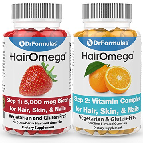 DrFormulas Hair Skin Nails Gummies Vitamins with Biotin by HairOmega | 5000 mcg Biotin Supplement for Hair Growth - Vegetarian Gummy (not Bears) for Men and Women, Made with Sugar not Corn Syrup