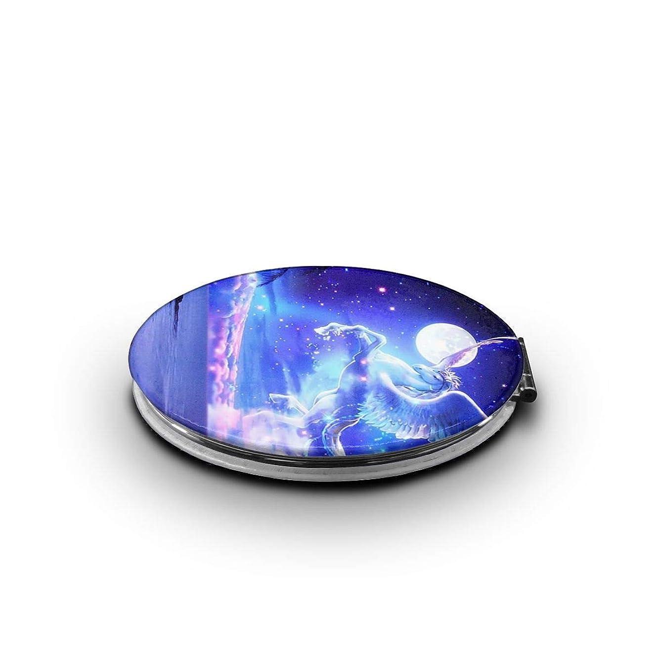 月面陰気メモ携帯ミラー ユニコーン 天馬 きれい 夜空ミニ化粧鏡 化粧鏡 3倍拡大鏡+等倍鏡 両面化粧鏡 楕円形 携帯型 折り畳み式 コンパクト鏡 外出に 持ち運び便利 超軽量 おしゃれ 9.0X6.6CM