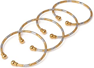 India Brass 4pcs Openable Bangle Bracelet Arab Ethiopian Bangle Gold Color Dubai Africa Jewelry Gift