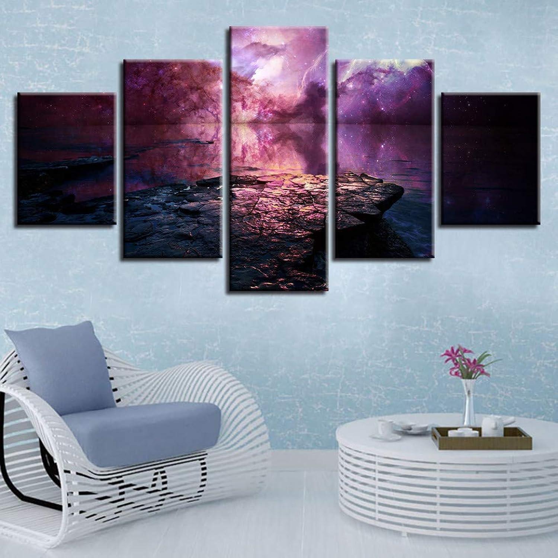 Envío rápido y el mejor servicio YHEGV Impresiones sobre Lienzo Lienzo Lienzo Lienzo Pintura Impresa Arte de la Parojo 5 Piezas Nebulosa Púrpura Reflejada En Laken Poster Modular Resumen Imágenes Marco de Decoración para el hogar  barato y de moda