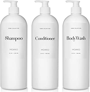 Moiikko Shampoo and Conditioner Bottles - Pack of 3 Refillable, 32oz Empty Shampoo Conditioner Body Wash Dispenser (White)...