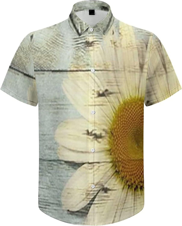 Men's Regular-Fit Short-Sleeve Printed Party Holiday Shirt Retro Wooden Daisy Flower