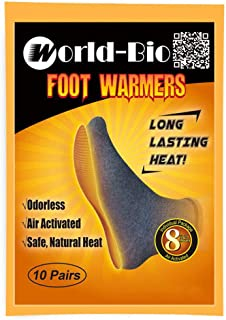 WORLD-BIO Disposable Insole Foot Warmers - Long Lasting Safe Natural Odorless Air Activated Warmers - Provide 8 Plus Hour Heating - 5/10/16/40 Pairs Value Pack & 5 Toe/Hand/Wing Warmers