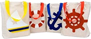 Fun Express 14/229 IN-14/229 Small Nautical Canvas Tote Bags, One Size, white, blue, red, yellow