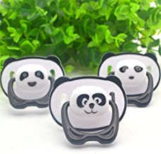 yuye-xthriv Cartoon Panda Baby Silicone Orthodontic Pacifier Flat Round Head Soother Nipple Flat Head#