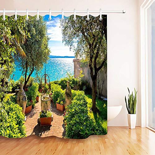 JHTRSJYTJ Sunny seaside garden with beautiful scenery Bathroom decoration, 3D HD, polyester waterproof shower curtain, 12 hooks, 180X180cm, bathroom essential