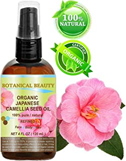 Japanese ORGANIC CAMELLIA Seed Oil. 100% Pure / Natural / Undiluted / Refined / Cold Pressed Carrier Oil. Rich antioxidant to revitalize and rejuvenate the hair, skin and nails. 4 Fl.oz-120 ml.
