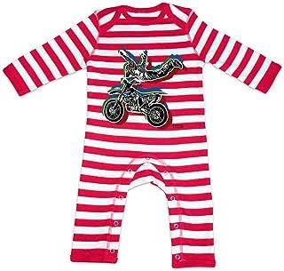 HARIZ HARIZ Baby Strampler Streifen Stunt Motorrad Bagger Eisenbahn Plus Geschenkkarten Feuerwehr Rot/Washed Weiß 3-6 Monate