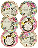12 enchanting paper party plates in 3 colourful designs Pocket watch design, March hare & and Alice illustration with key quotes Part of the Talking Tables Truly Alice Range Create an Alice in Wonderland party setting Perfect for summer weddings, gar...