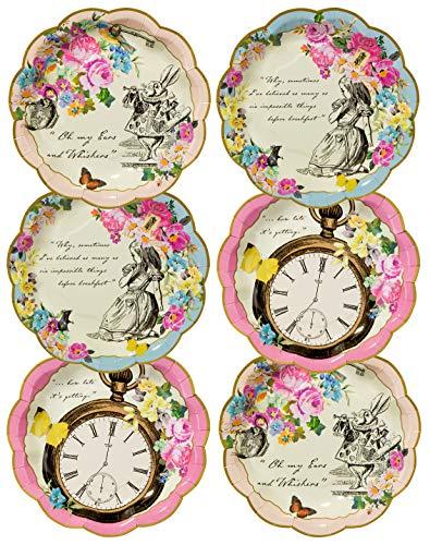 Talking Tables Assiettes en Papier Jetables de Theme Alice Au Pays des Merveilles | Ideal pour Anniversaire, Fetes, Gouter et Fetes de Naissance