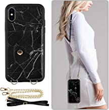 iPhone Xs Max Wallet case Compatible, LAMEEKU iPhone Xs Max Case with Credit Card Holder Slot Leather Case, Protective Cover with Crossbody Chain Strap & Wrist Strap Black Marble