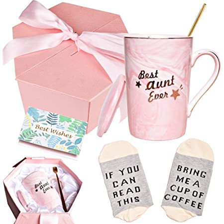 Bosmarlin Birthday Gifts for Aunt, Best Aunt Ever Mug, Cute Mug Gifts for Aunt, 13 oz, Pink Ceramic Marble Mug (Pink)
