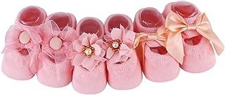 3 pares de calcetines antideslizantes de algodón para bebés niñas calcetines suave de encaje con lazo de flores para bebé niña recién nacidos rosa S (0-1 años)