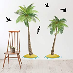 Runtoo Palm Tree Wall Decals Tropical Wall Art Stickers for Bedroom Living Room Home Décor