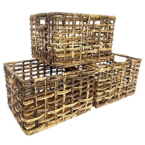 Wrightmart Storage Baskets Natural Handwoven Seagrass Set of 3 Decorative Home Organizer for Shelves Pantry Living Room Bedroom Office Natural Dark Weave