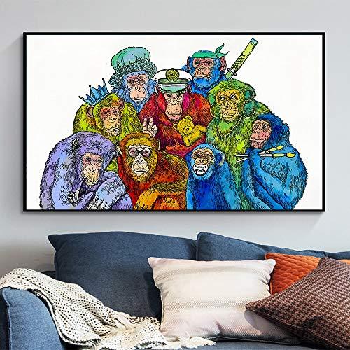 Malerei Plakat Leinwand Wandkunst Bild Tier Schimpansen Kopfhörer Wohnzimmer Hauptdekoration Tiermalerei rahmenlos QK2809 40x70cm