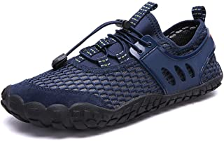 Apostasi Mens Breathable Mesh Water Shoes, Outdoor Climbing Hiking Non-Slip Sneakers, Quick-Dry Beach Shoes Barefoot Lightweight Aqua Socks for Water Sports Surf Beach Pool Exercise