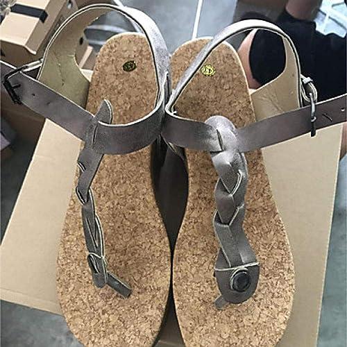 Sandales pour Femmes minimalisme Talon compensé à Bout Ouvert et Boucle Beige@gris_US6   EU36   UK4   CN36