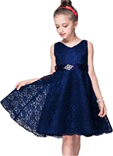 Girls Lace Dress Elegant Long Wedding Party Bridesmaid Princess Pageant Dresses