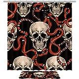 TIZORAX Schädel & rote Schlange Bad Duschvorhang Set mit rutschfesten Badezimmer Teppiche Bodenmatte Home Decoration