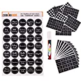 Chalkboard Labels For Spice Jar and Pantry Organization, Waterproof Round and Rectangle Pre Printed Stickers. 281 Label Set Includes Blank Labels and a Marker To Organize Your Kitchen