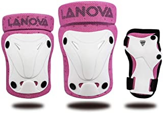 LANOVAGEAR Kids Knee Elbow Pads Wrist Guard 3 in 1 Protective Gear Set for Multi Sports Safety Protection Inline Skating Bicycle Cycling Skateboarding Rollerblade Biking Riding