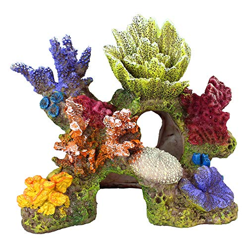 "Danmu 1Pc of Polyresin Coral Ornaments, Aquarium Coral Decor for Fish Tank Aquarium Decoration 6 3/5"" x 3 7/10"" x 5 1/2"""